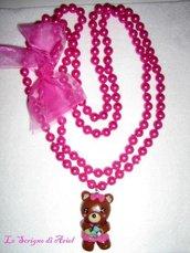 Collana di perle fucsia con orsetta in fimo/cernit
