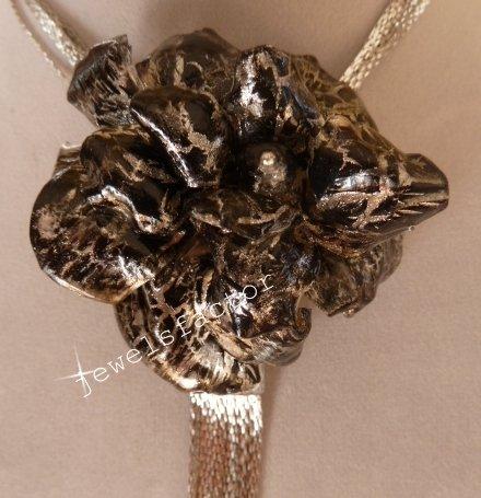 Collana Crackle nera e oro Sospeso Trasparente