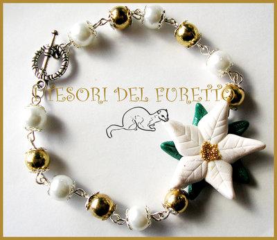 """Bracciale """"Stella Natale 2013 Bianco/Oro"""" Fimo cernit kawaii idea regalo"""