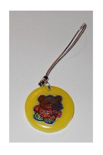 Charmes per cellulare con disco di pasta fimo e orsetto metallizzato