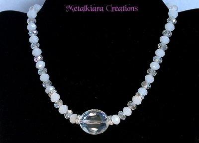 Collana con cristalli e strass - bianco/trasparente