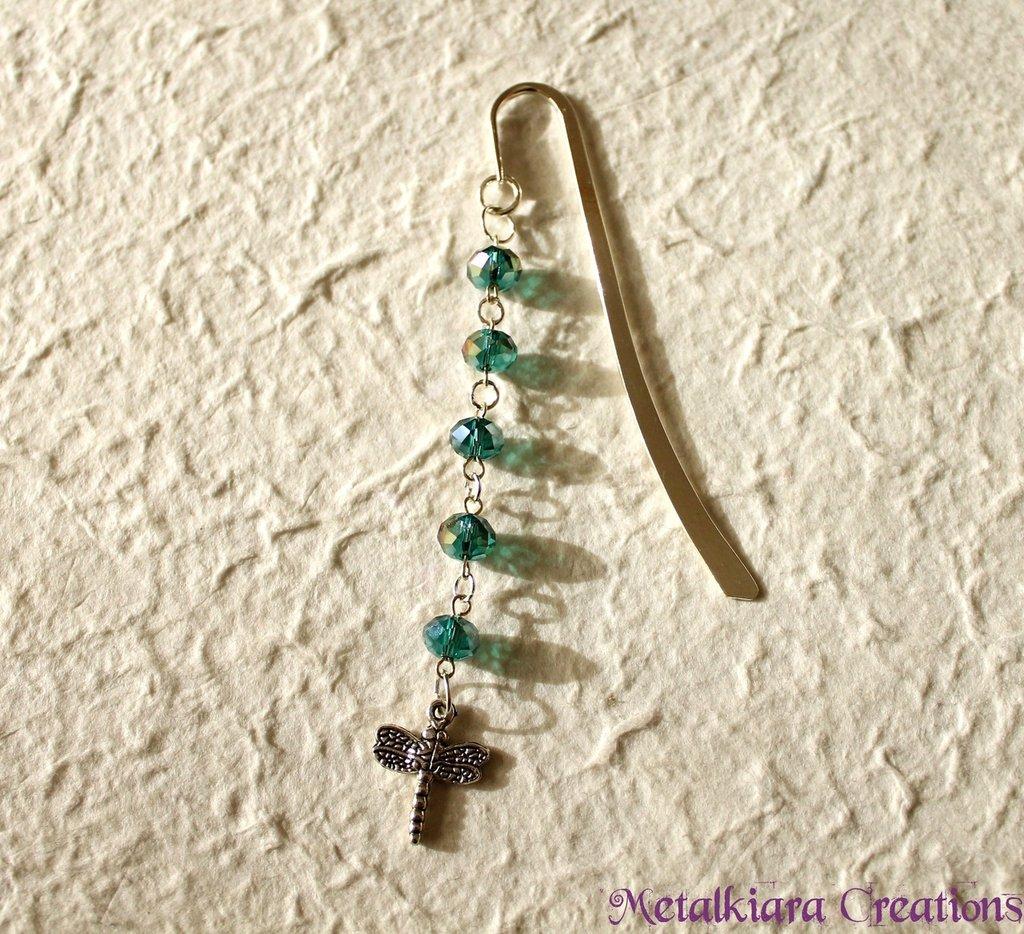 Segnalibro argento con cristalli verdi e libellula