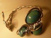 Bracciale in wire e ceramica azzurra