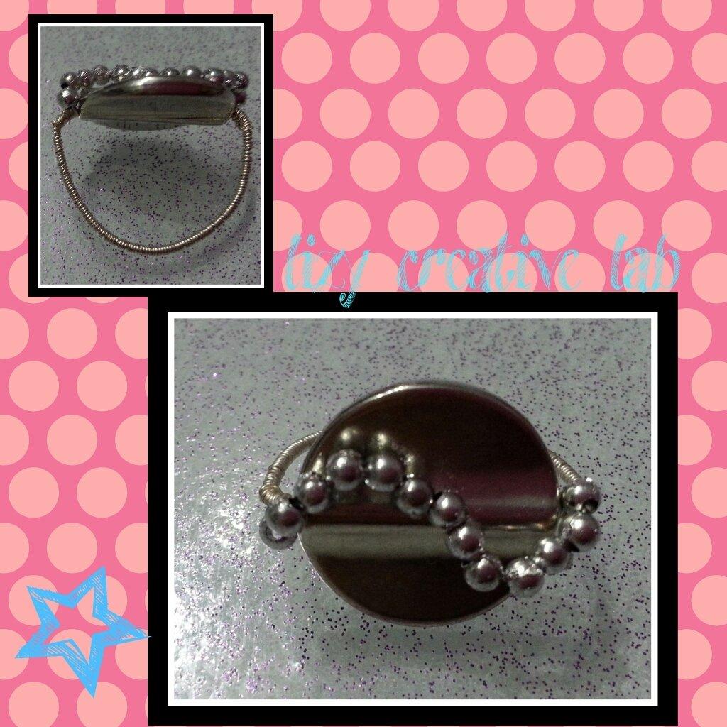 Anello bottone argentato