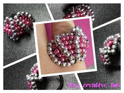 Anello perle argentate e rosa