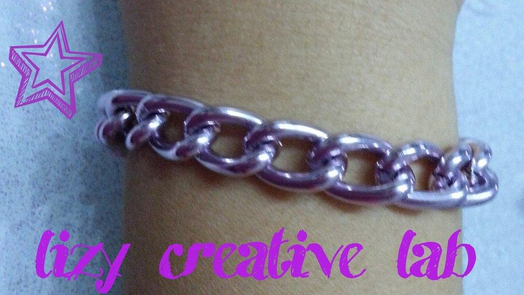 Bracciale catena rosa metallico