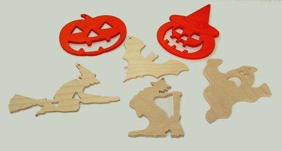 Gruppo 6 decorazioni in legno per Halloween (soggetti a scelta)