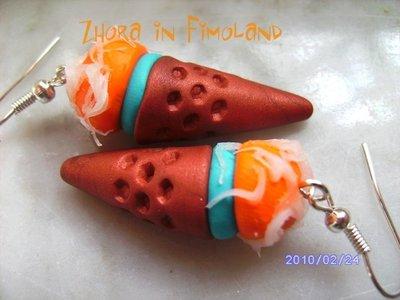 Orecchini gelato in fimo (arancione e turchese)