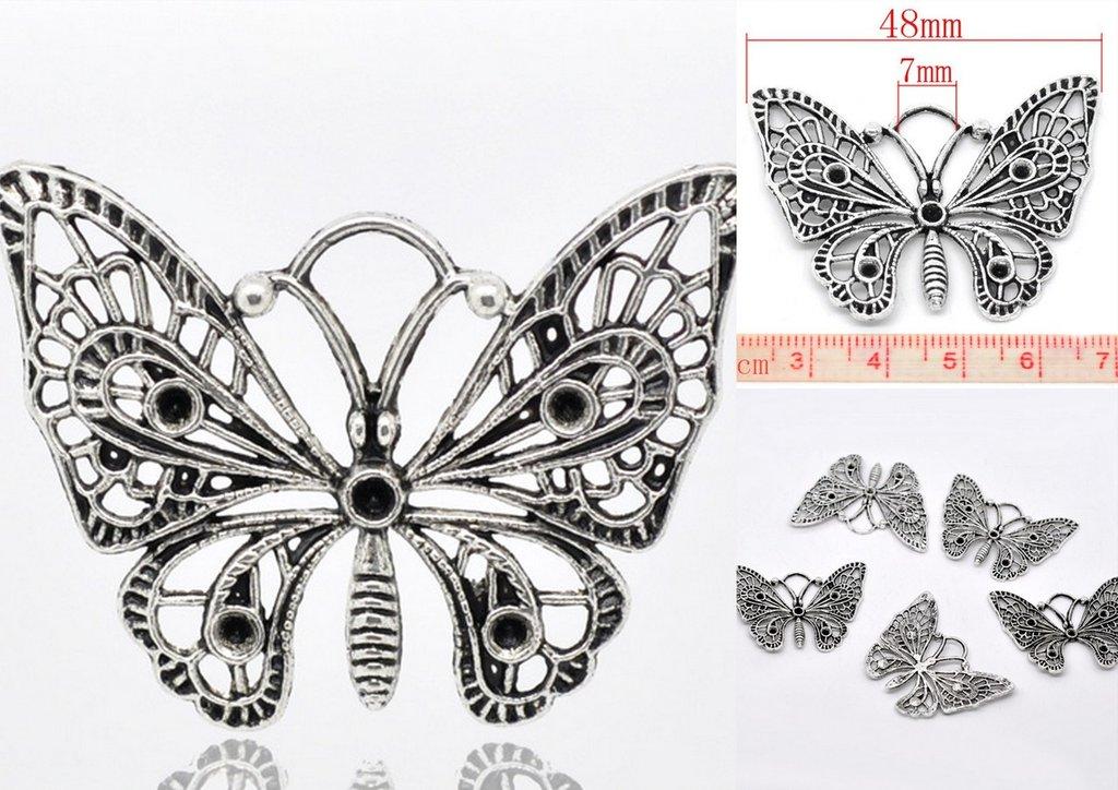 Ciondoli Farfalla Argento Antico