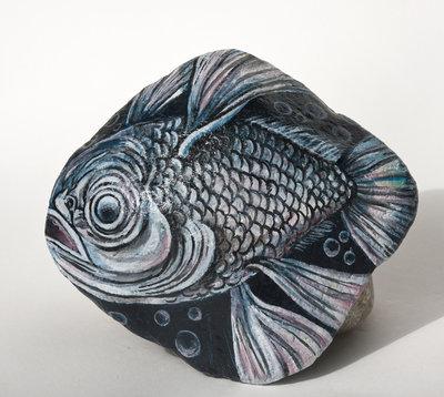 Dipinto su pietra - PESCE - Opera d'arte - Idea regalo - oggetto da collezione