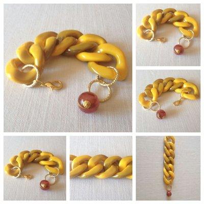 bracciale con catena in resina e pendente