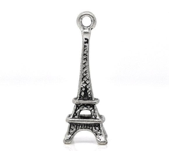 Charm Ciondoli Eiffel 3D  Argento Antico 24x9mm