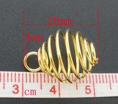 ciondoli Spirale Gabbia colore Dorato  per perla 20x14mm
