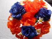 bouquet di rose blu e arancio