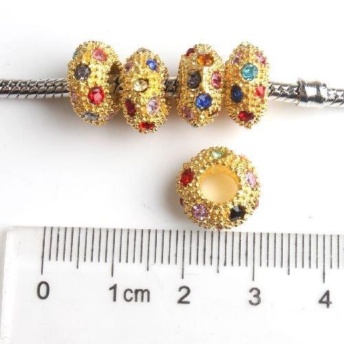 perle dorate foro largo con strass colorati 12x6 mm scontato x 2 giorni