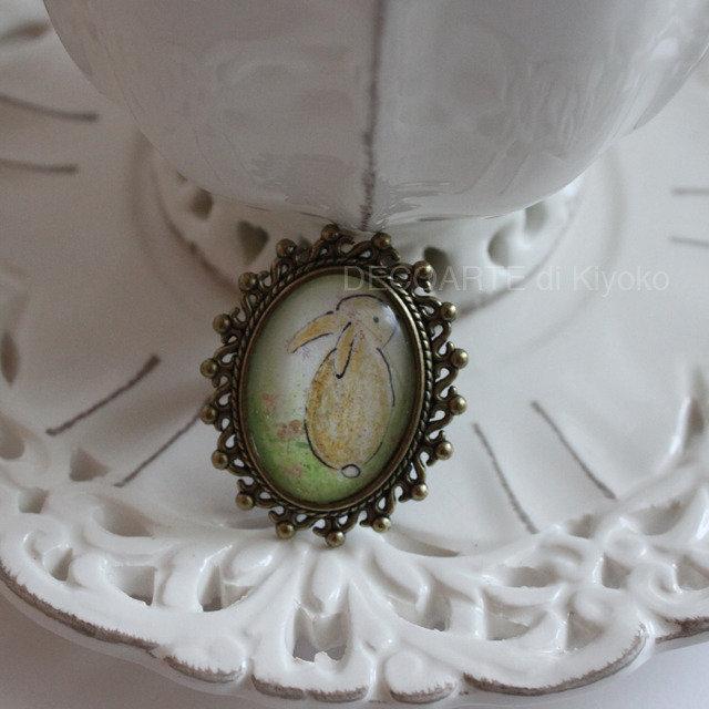 Anello mini quadro coniglio 1