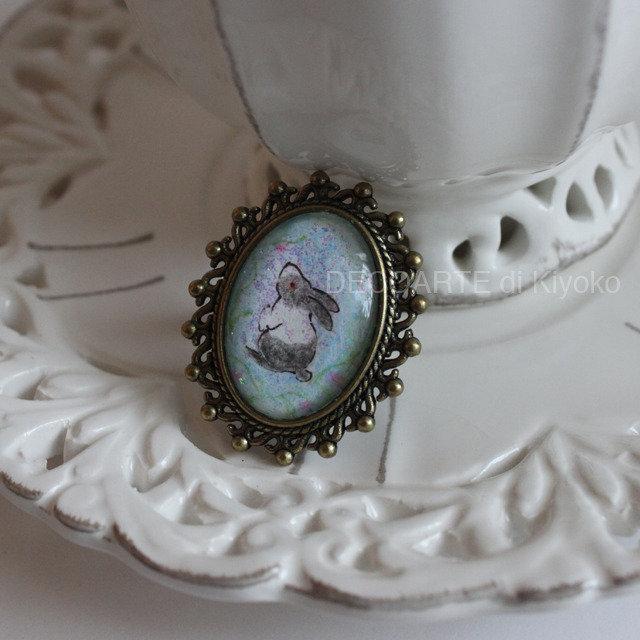 Anello mini quadro coniglio 3