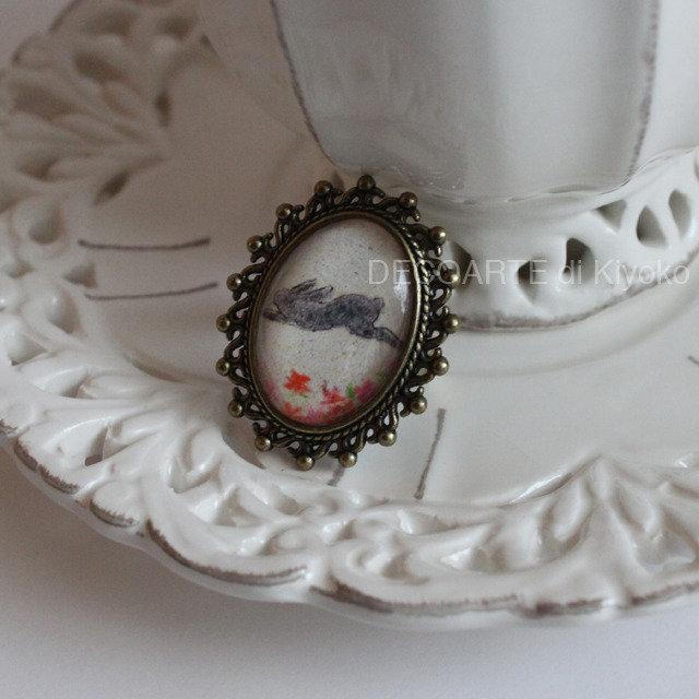 Anello mini quadro coniglio 6
