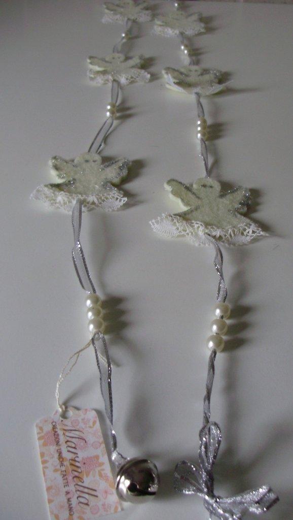 ADDOBBO ANGELI in feltro di lana su nastro organza, interamente handmade, Collezione Speciale Natale
