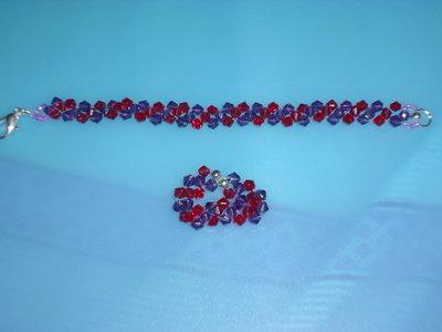 bracciale e anello cristalli viola e rossi