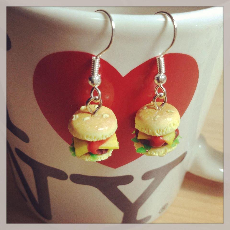 hamburger earrings