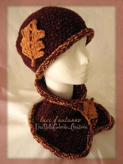 """Cappello e Scaldacollo - """"Luci d'Autunno"""" - Completo di accessori di lana, fatto a mano, all'uncinetto."""