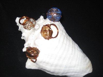 Anelli rame e perle vetro
