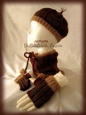 """Cappello, Scaldacollo e Guantini - """"Castagna"""" - Completo di accessori di lana, fatto a mano,ai ferri."""
