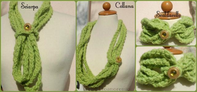 Sciarpa-collana-scaldacollo verde a crochet- I colori dell'autunno