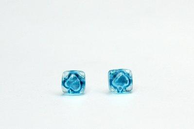 orecchini di vetro artigianale, pin argento  925, azzurro, orecchino orecchio, di fusione,