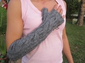 GREY handmade fingerless armwarmers gloves wth cable pattern