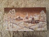 Scatola portabottiglie Villaggio di Natale