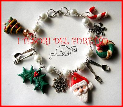 """Bracciale """"Natale 2014 Babbo Natale e co. Mod.1"""" Charm fimo cernit kawaii"""