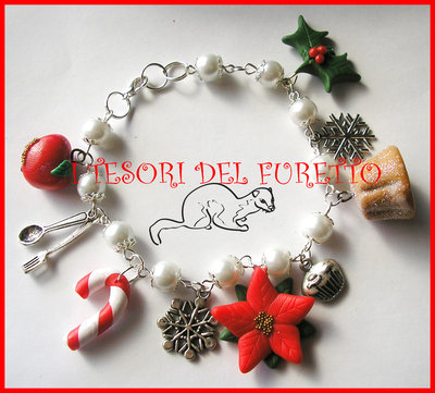 "Bracciale ""Natale 2013 Stella Natale pandoro. Mod.2"" Charm Natalizi pandoro fimo cernit kawaii"