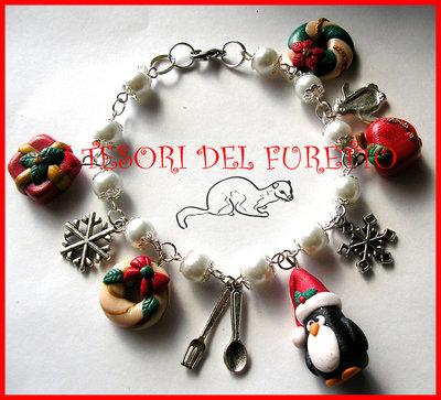 "Bracciale ""Natale  Pinguino e co.  Mod.3"" Charm Natalizi pandoro fimo cernit kawaii"