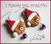"""Orecchini """" Orsetti Fufufriends nocciola"""" Natale 2013 idea regalo kawaii fimo cernit"""