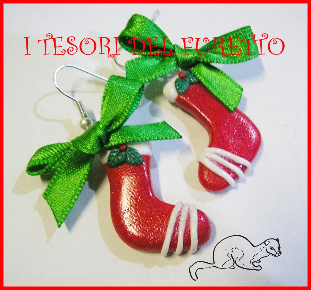 """Orecchini """"Calze di Natale"""" 2013 fimo cernit kawaii idea regalo"""