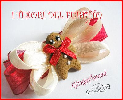 """Fermaglio """"Gingerbread Pan di zenzero"""" Clip capelli Natale 2013 fimo cernit"""