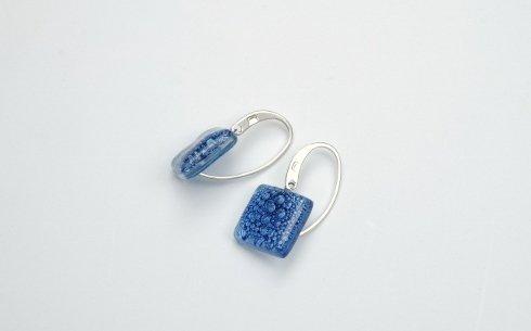 Brevi arti di vetro, argento  925, blu, fatti a mano,
