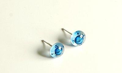 925 Argento, orecchio orecchino, vetro, fatto a mano, azzurro