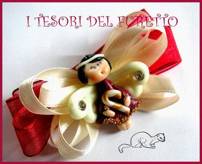 """Fermaglio Clip """"Fufuangel Rosso Scuro"""" Fimo cernit kawaii Natale 2013"""