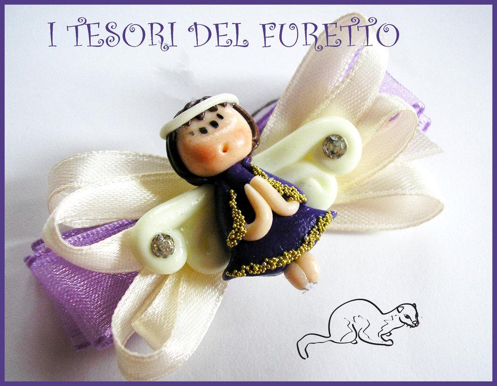 """Fermaglio Clip """"Fufuangel  Viola/oro"""" Fimo cernit kawaii Natale 2013"""
