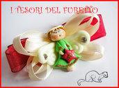 "Fermaglio Clip ""Fufuangel Verde Mela"" Fimo cernit kawaii Natale 2013"