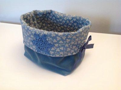 Cestino portapane azzurro fiocco di neve