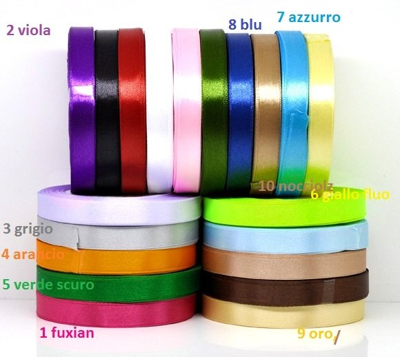 1 METR0 NASTRO IN RASO,12 MM VARI COLORI DISPONIBILI