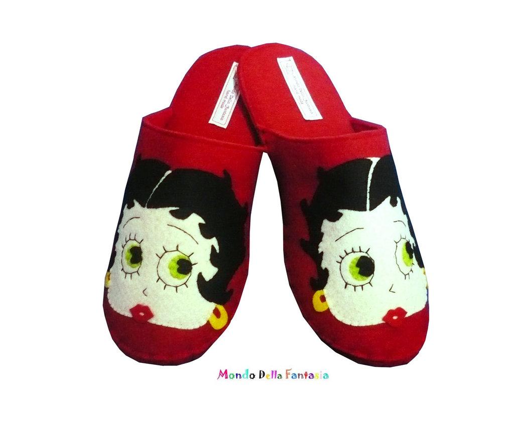"Pantofole in feltro fatte a mano ""Betty Boop"""