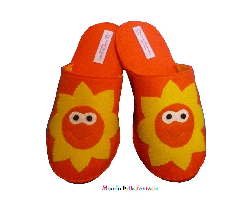 "Pantofole in feltro fatte a mano ""Girasole"""