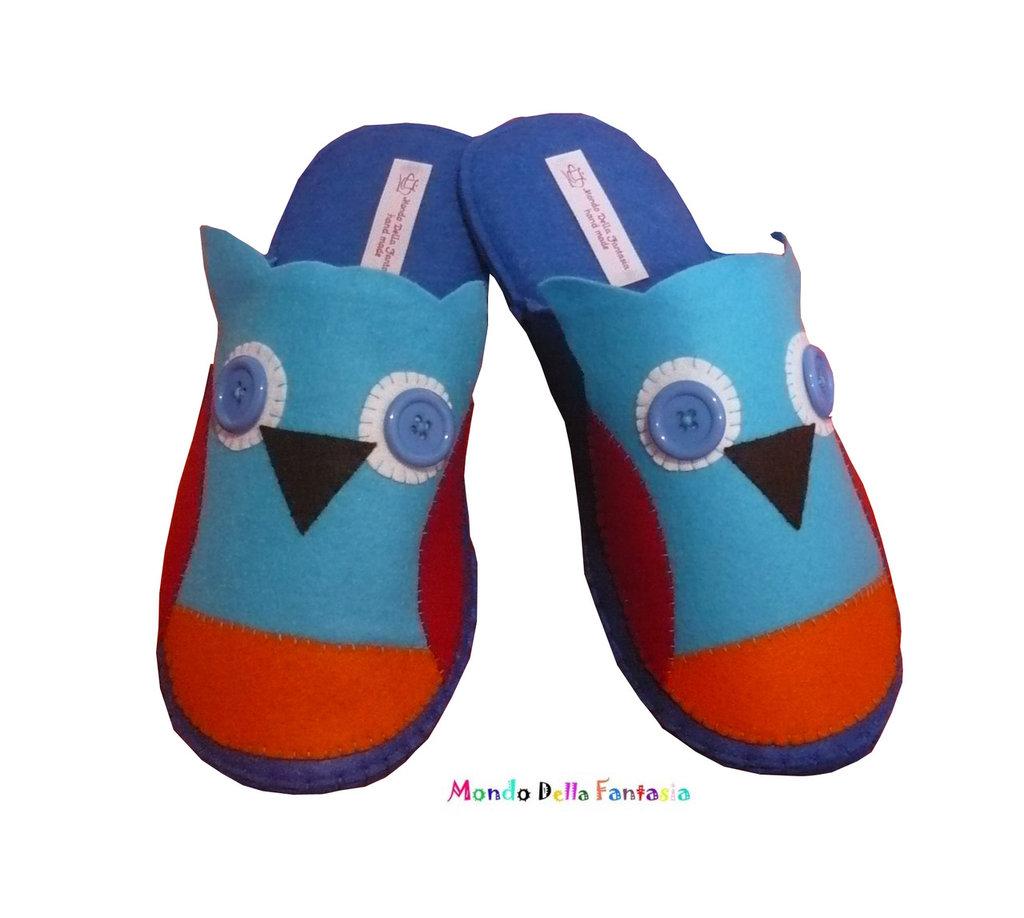 "Pantofole in feltro fatte a mano ""Gufo"""