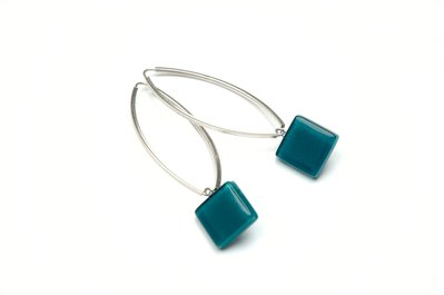 Orecchini Vetro , 925 Argento,  orecchini di vetro artigianale,