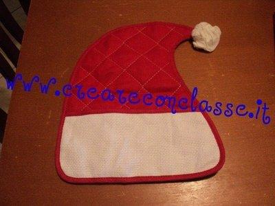 Coppia Presine Cappello Babbo Natale inserto tela aida punto croce